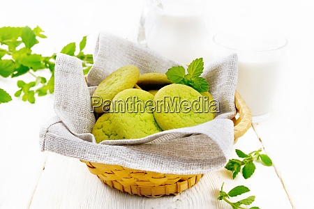 cookies mint in basket on table