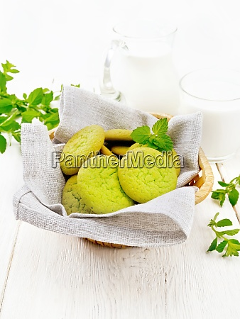 cookies mint in basket on wooden