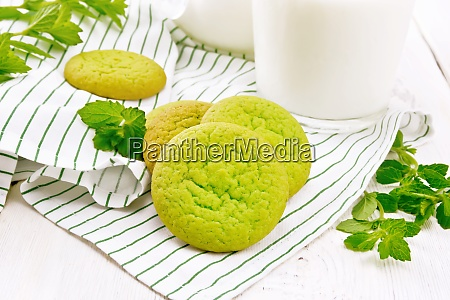 cookies mint with napkin on white