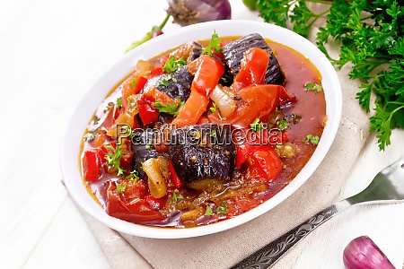 ragout vegetable with eggplant on white