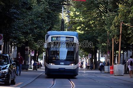 zurich streetcar tram on zurichs bahnhofstrasse