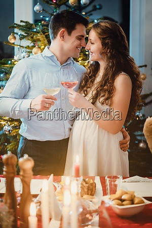 couple celebrating christmas the wife is