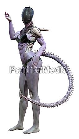 3d rendering female alien on white