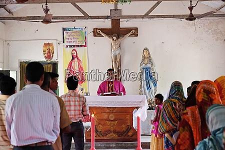 mass at a church in chunakhali