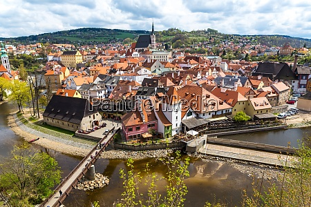view over krumlov in bohemia with