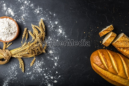bakery products on slate