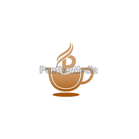 coffee cup icon design letter p