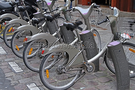 bicycles for rent on street