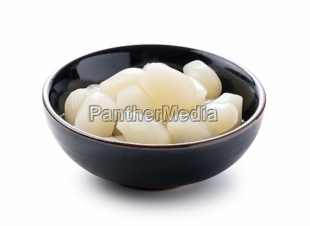 japanese rakkyo placed on a white