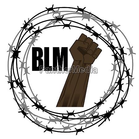 black lives matter banner with barbed