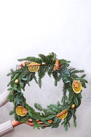 christmas wreath of branches of danish
