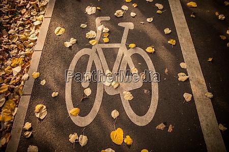 bicycle lane symbol in a park