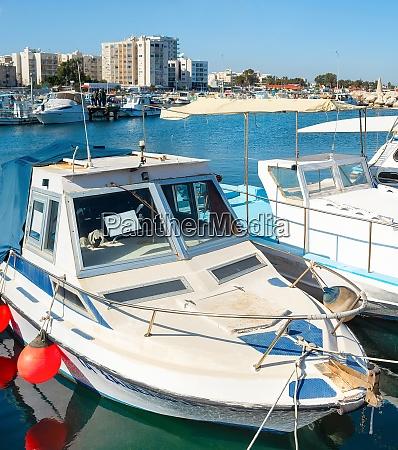 motorboats marina cityscape larnaca