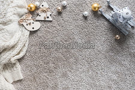 cozy winter background with christmas decoration