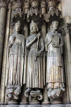 medieval gothic statues on entry to
