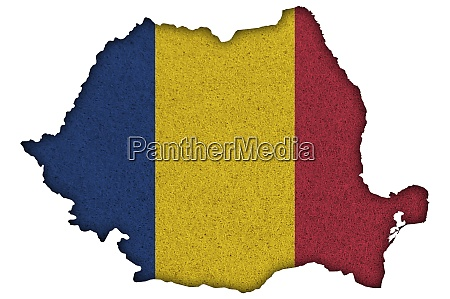 map and flag of romania on