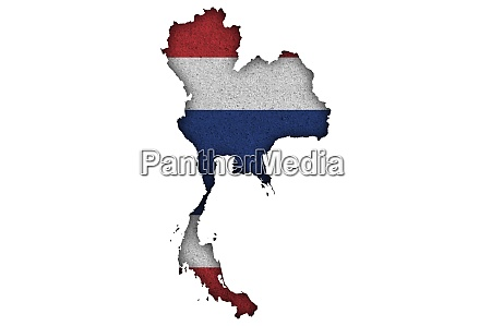map and flag of thailand on