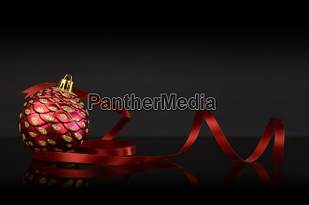 christmas bauble and ribbon