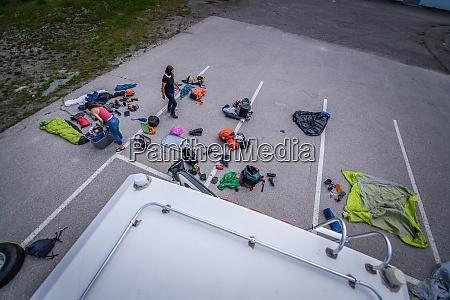 view from van roof of women