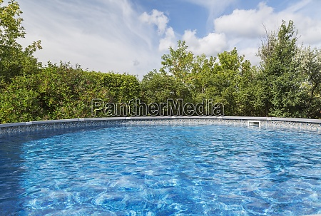 outdoor pool surrounded by deciduous trees