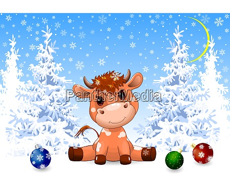 little, calf, in, the, winter, forest - 29053342