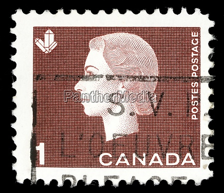stamp printed by canada shows queen