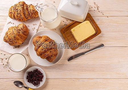 top view of multigrain croissants