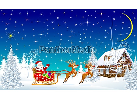 santa with reindeer on sleigh on