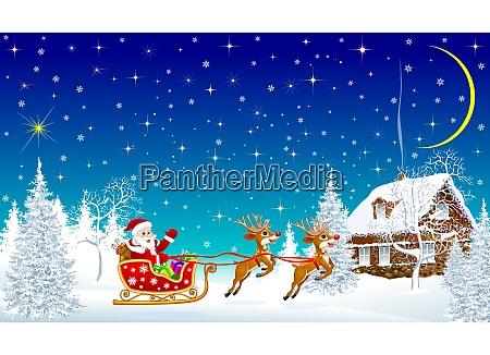 santa with reindeer on sleigh on