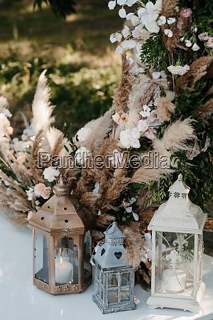 wedding ceremony area arch chairs decor