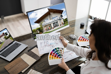 interior designer or architect working with