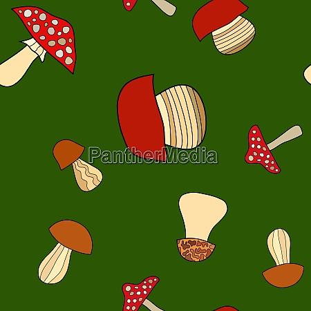 abstract doodle mushroom seamless pattern