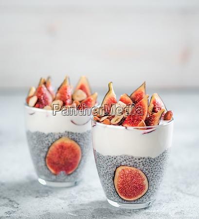 chia pudding with yogurt figs nuts