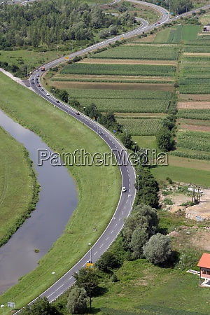 aerial shot of highway a2 near