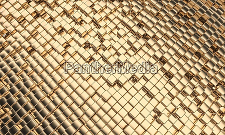 gold colored mosaic with cubic geometric