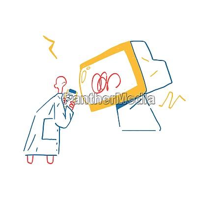 scientist watch error computer in giant