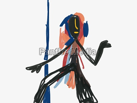 african statue with figure expressionism painting