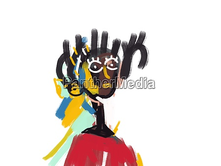 afro guy portrait painting expressionism and