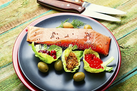 appetizing salted salmon