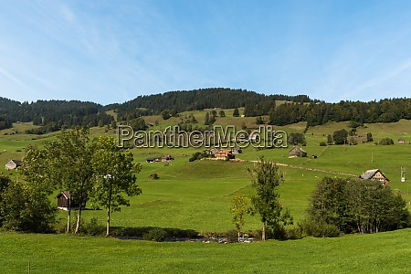 landscape in toggenburg with green pastures