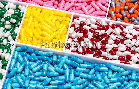top view of colorful capsule pills