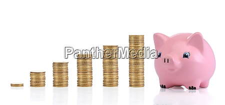 savings investment concept with coins and