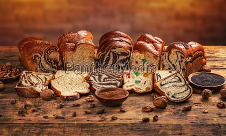 assortment of sweet bread loaf