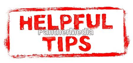 red stencil frame helpful tips banner
