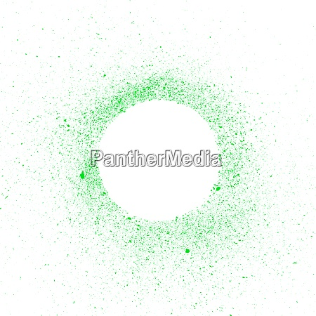 white circle with drops of green