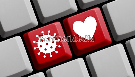 coronavirus heart symbol sign for