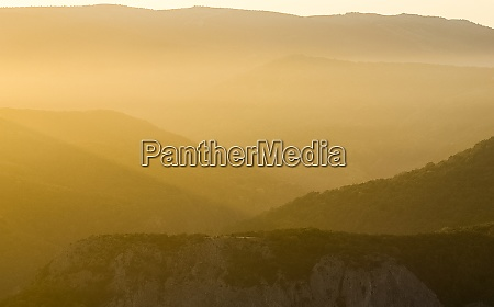dawn in the mountains of crimea