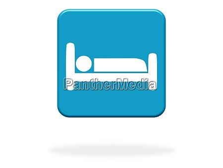 blue button with bed icon