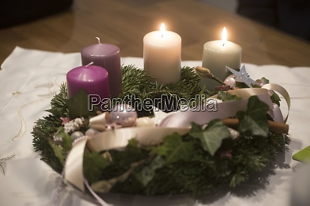 advent wreath on the second advent