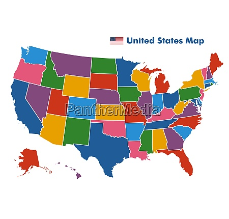 coiorful united states map with state